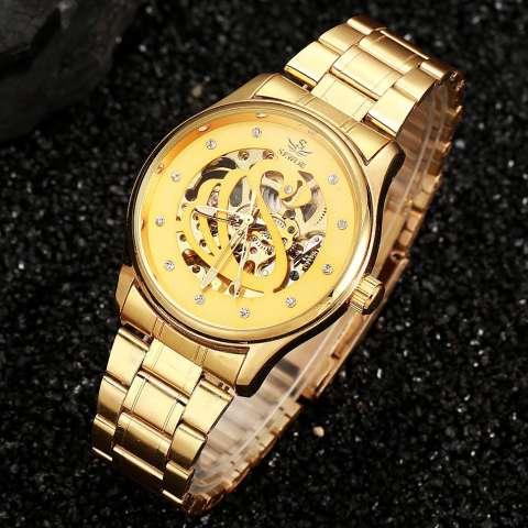 YJJZB SEWOR Brand Fashion Business Luxury Mekanik Otomatis Skeleton Tangan Jam Tangan Watch Gold Luxury Wrist Watch Silver Full Steel (emas) 3