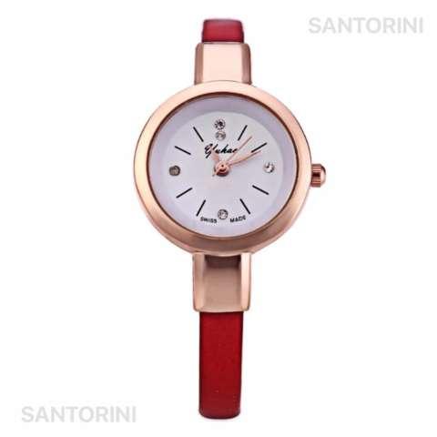 YUHAO Jam Tangan Kulit Fashion Analog Wanita Diamon Style Women Leather  Strap Watch - RED 2 54d39af013
