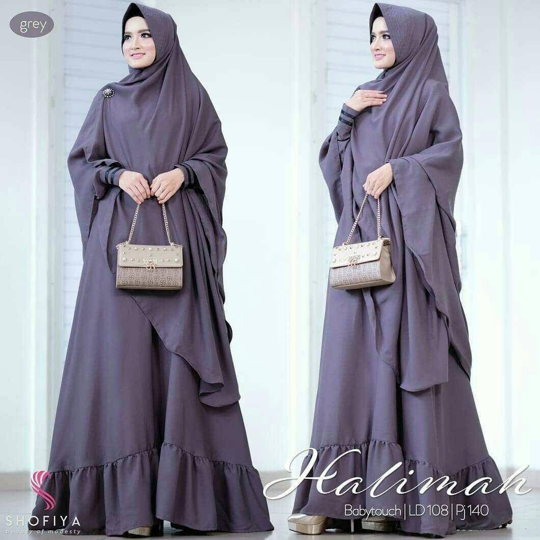 Baju Muslim Modern Gamis Halimah Syari Dress Wolfice Gamis Trendy Gaun  Modern Casual Baju Modis Panjang 68e436db68