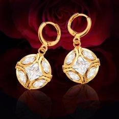 Big Round Ball Putih Simulated Diamond Earrings 18 K Berlapis Emas AAACubic Zirkonia Anting E10121