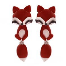 Bluelans Wanitas Polymer Clay Fox Anting Cute Kartun Telinga STUDS Red