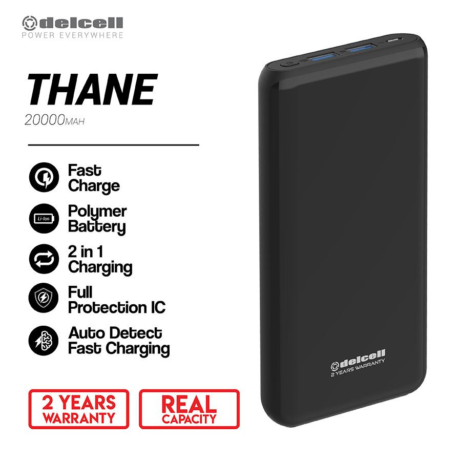 New Arrival Delcell 20000mAh Powerbank THANE Real Capacity Big Capacity Fast Charging Polymer Battery Garansi Resmi