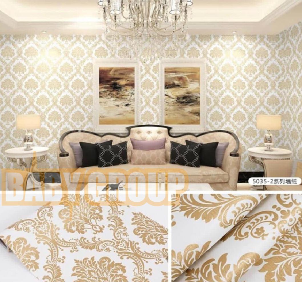 Wallpaper Stiker Dinding Motif Dan Karakter Premium Quality Size 45cm X 10M Batik Gold Baby023