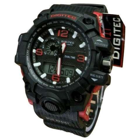 Digitec Dual Time - Jam Tangan Sport Pria - Rubber Strap - DG 2093 Black Red