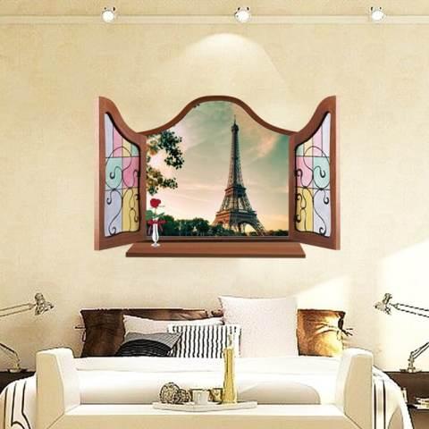 Palsu Jendela Menara Eiffel 3D PVC Stiker Dinding Rumah Model Rumah Gaya Vinil Kertas Dekorasi WallPaper Kamar Tidur-ruang Tamu Dapur Diseduh Sendiri Gambar Seni Mural Perempuan Anak Bayi Dekorasi Kamar Bermain The Boy 2
