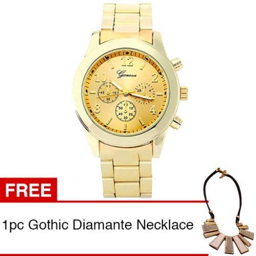 Diameter 3.8 cm Geneva Jam Tangan Wanita Stainless Steel Quartz Watch -  Gold + Gratis 1pc Gothic Diamante Women 0b26c35fc2