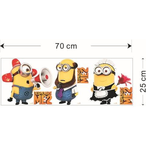 Getek 3 Lucu Minion Hiasan Kamar Anak-anak Stiker Dinding (Kuning) 3