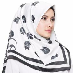 Hijabstore - Moshaict By Itang Yunasz Scarf AL 033 - Putih Motif Bunga