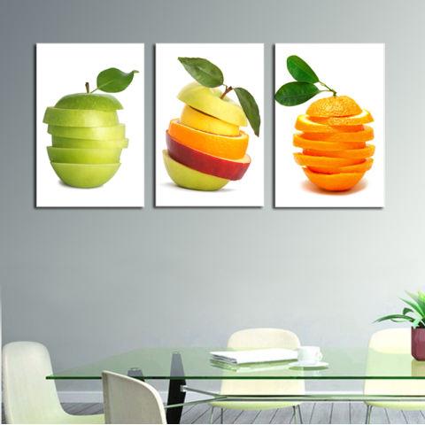 Seni Rumah 3 Panel Lukisan Buah Kualitas Tinggi Seni Kanvas HD Gambar Lukisan untuk Dapur Ruang Makan Kamar Dekorasi (Intl) 3