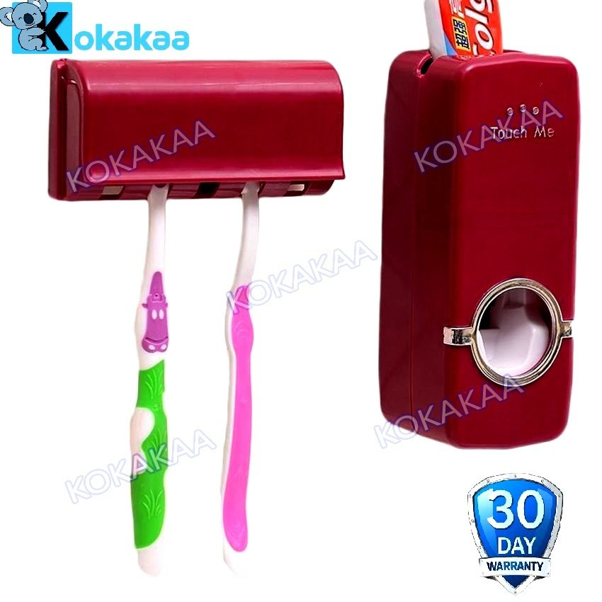 Maxxio Dispenser Odol TouchMe Otomatis Toothbrush Holder Bundle - Merah