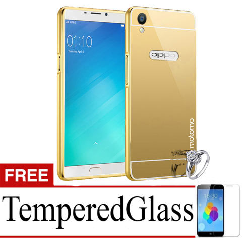 MOTOMO mirror Bumper hard Protective For Oppo F1 Plus (R9) + Tempered Glass-