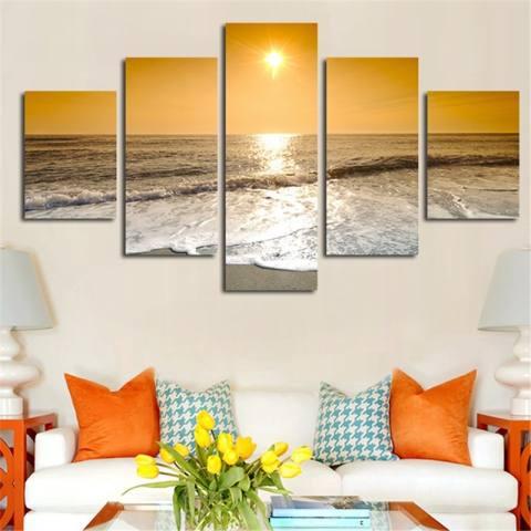 No Frame Home Dekorasi 5 Pcs Lukisan Dinding Kanvas Pemandangan Matahari Terbit Sampai Laut Seni Gambar untuk Ruang Tamu Kamar Tidur Arts Hadiah-Intl 2