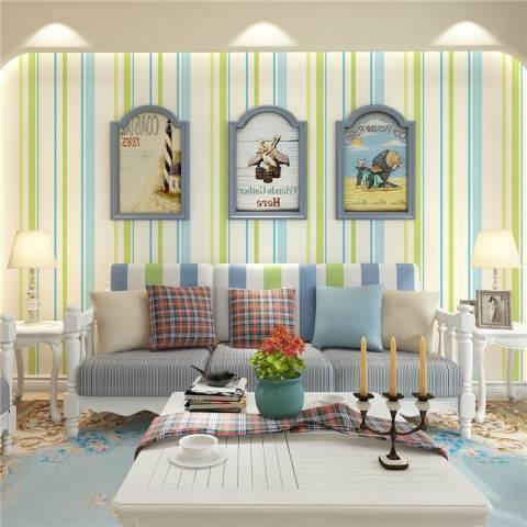 Non-woven Wallpaper Sederhana Segar Striped Wallpaper Kamar Tidur Living Room Latar Belakang Dinding Dekorasi Hijau 1