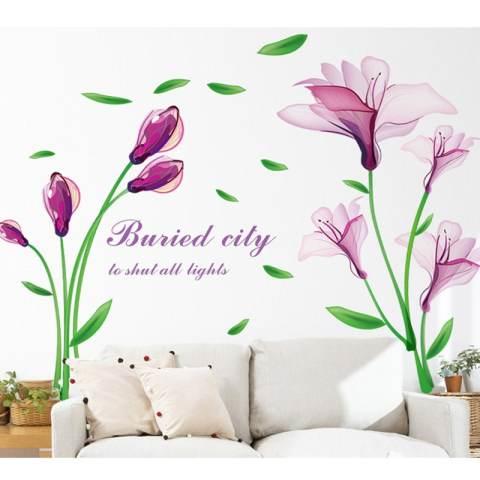 Bunga Ungu Fantasy Wall Sticker Decal Wallpaper PVC Mural Art Home Gambar Dinding Kertas untuk Rumah Dekorasi Kamar 1