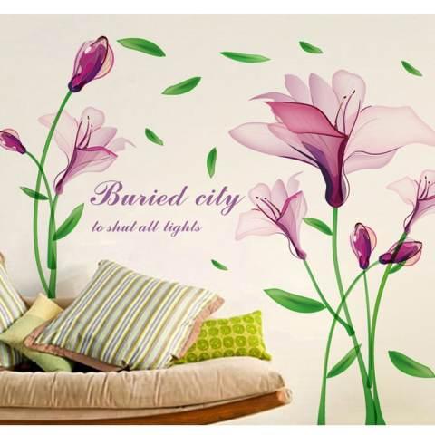 Bunga Ungu Fantasy Wall Sticker Decal Wallpaper PVC Mural Art Home Gambar Dinding Kertas untuk Rumah Dekorasi Kamar 2