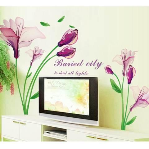 Bunga Ungu Fantasy Wall Sticker Decal Wallpaper PVC Mural Art Home Gambar Dinding Kertas untuk Rumah Dekorasi Kamar 3
