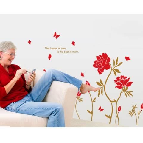 Merah Peony Bunga Daun Kupu-kupu Stiker Dinding Decal PVC Mural Art Home Gambar Kertas untuk Rumah Dekorasi Kamar 1