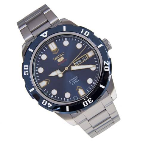 Seiko 5 Sports Jam Tangan Pria Automatic 24 Jewels - Biru - Strap Stainless Steel -