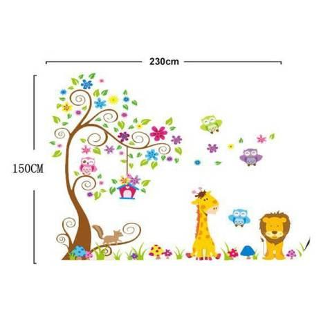 Super Besar Pohon Bunga Owls Animals Birdcage Stiker Dinding Decal PVC Mural Art Home Gambar Kertas untuk Rumah Dekorasi Kamar 1