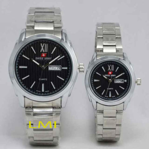 Swiss Army Couple - Stainless Steel - Silver Black - SA X-1421 SB