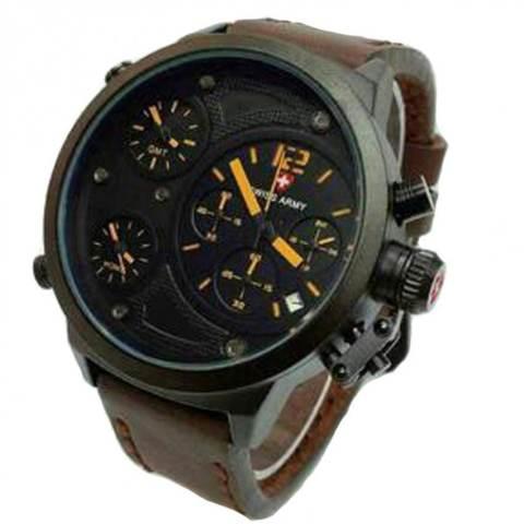 ... Swiss Army Leather Strap Jam Tangan Pria SA 4004 C Dark Brown