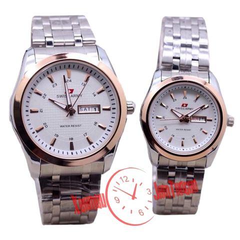 Swiss Army - SA 0001 - Jam Tangan Couple - Stainless - ( Silver List Rose