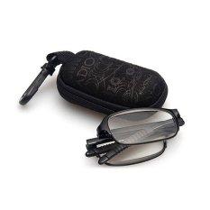TR90 Kacamata Baca Lipat Ultra Ringan Fashion Kacamata Pergi dengan Kasus + 1.0 (hitam)