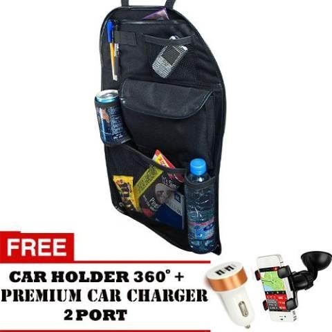 Trend's Car Back Seat Organizer / Tas Penyimpanan di Belakang Mobil - Hitam + Gratis Car