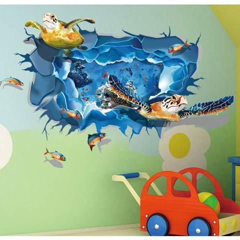 Kura-kura Ikan 3D PVC Stiker Dinding Rumah Model Rumah Gaya Vinil Kertas Dekorasi WallPaper Kamar Tidur-ruang Tamu Dapur Diseduh Sendiri Gambar Seni Mural Perempuan Anak Bayi Dekorasi Kamar Bermain The Boy 1