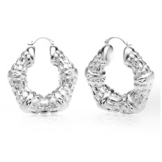 Vintage Wanita Anting 18 K Emas Berlapis Fashion Perhiasan Hadiah Grosir Round Fancy Hoop Earrings E10127