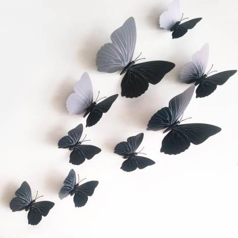 ZooYoo 12 Buah 3D Desain Busana These Butterflies Stickrs Diseduh Sendiri Kamar Bayi Dekorasi Dinding Dekorasi Rumah Hitam 1