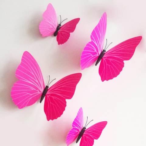 ZooYoo 12 Pieces 3D Butterfly Stiker Desain Mode DIY Hiasan Dinding Rumah Dekorasi Kamar Bayi Rose 1