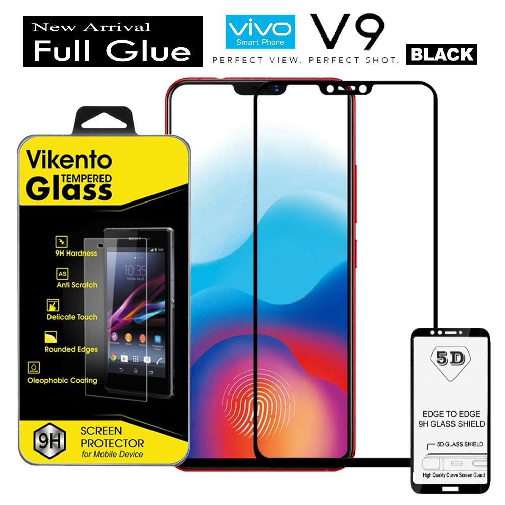 Tempered Glass Vikento For Vivo V9 Black Full Glue Anti Gores Kaca 5D 2018 Full Lem