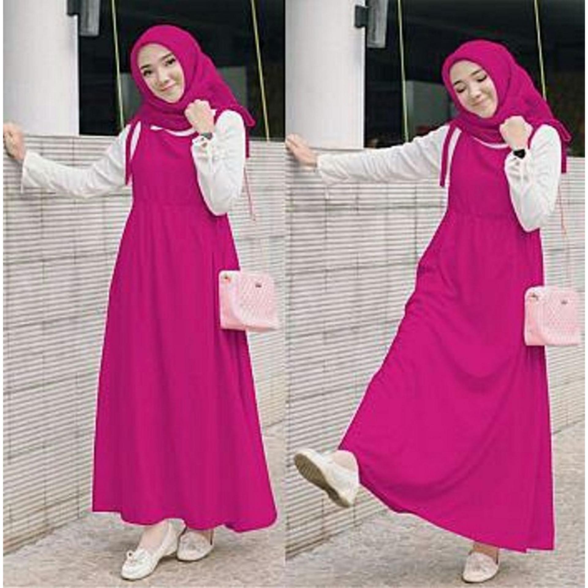 Chrystion Overall Maxi Dress Muslim Wanita Gamis Terbaru Lengan Panjang  Pashmina Winda f3195f82a9