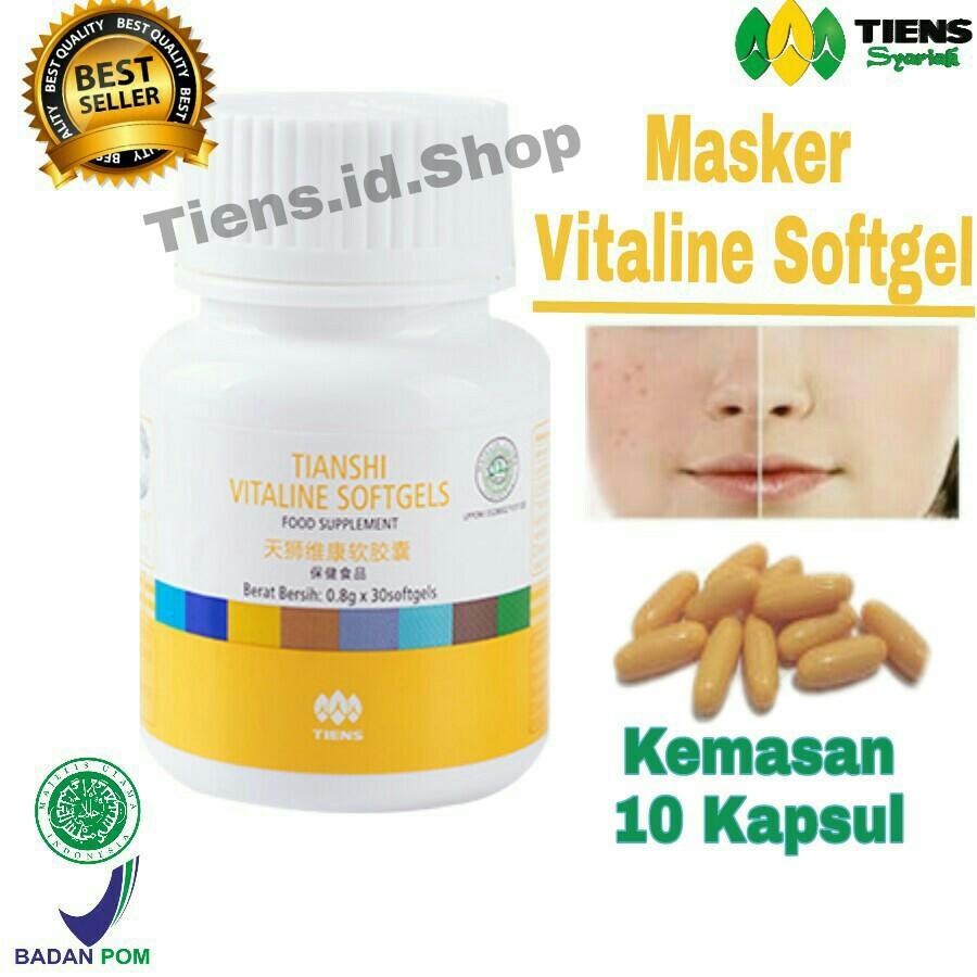 Tiens Vitaline Softgel Masker Wajah & Flek Hitam Herbal Kemasan - ( 10 Softgel ) Free Member Card + Gift By Tiens.id.ShopRp125.499