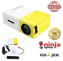 Mini Proyektor YG300 Proyektor LED 1080 P Portabel Mini Projector Bioskop Bioskop Rumah Terbuka dengan PC Laptop USB/SD/AV/HDMI Pocket Input untuk TV Video Game Film Party Home Entertainment Pico Projector - Kuning Putih