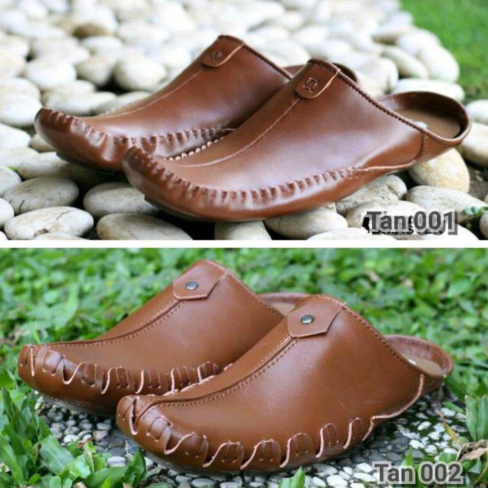 Bustong Sendal Sandal Casual Sepatu Pria Original Black Master Hitam Kulit Dan Coklat Tan Santai Ke