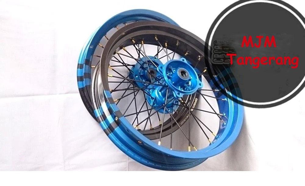 Sepaket Velg Custome Supermoto KLX 150 - Dtracker Ring 17 Lebar 300 350 Komplit Bebas Request