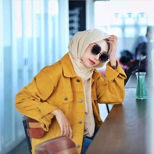 Rp109.900LZJL - jaket jeans wanita oversize retro style brown gold / mushtard (kunyit)
