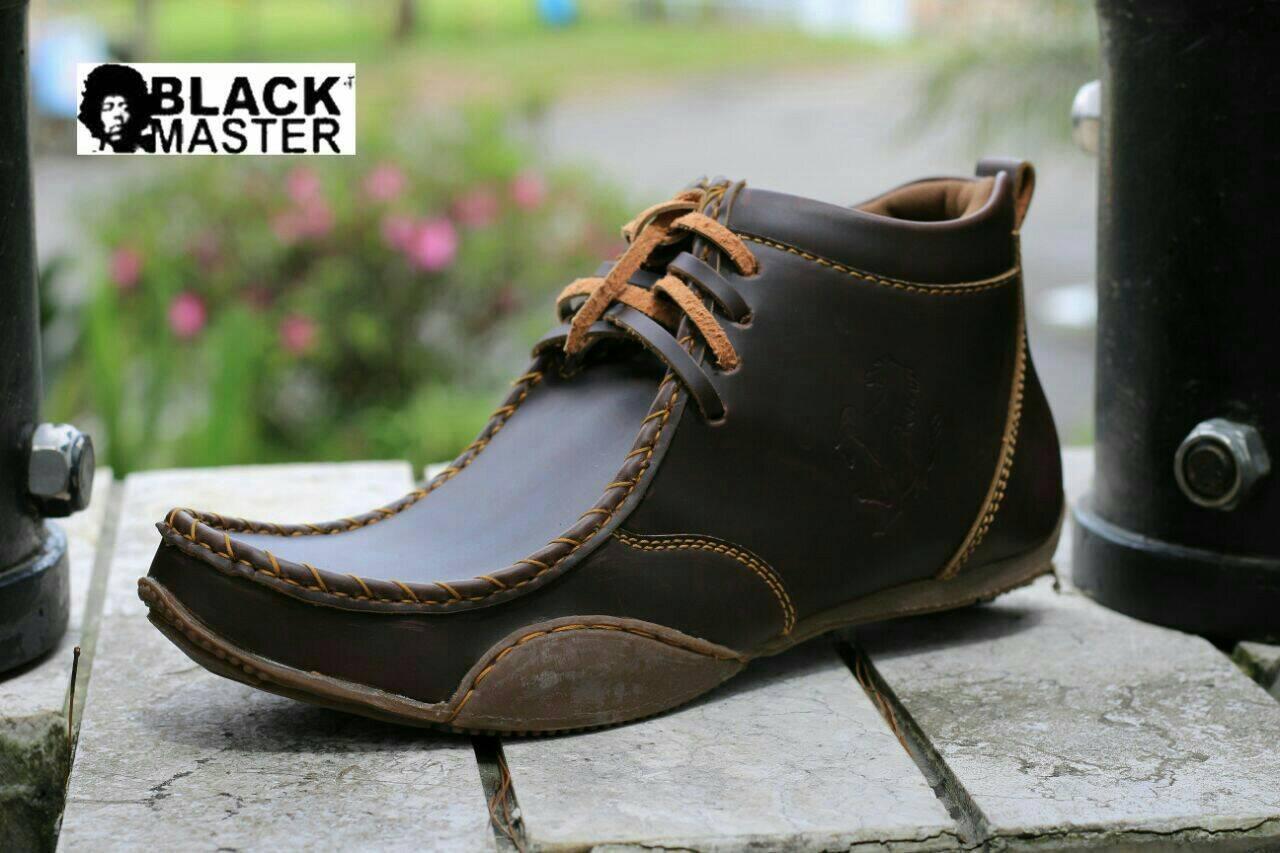 sepatu kulit pria semi boots pansus black master original 352ebf8368