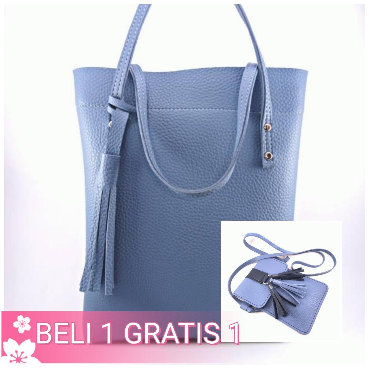 Tas Wanita Fashion Kulit PU Tote Leather Handbags Shoulder Bags - Hitam (