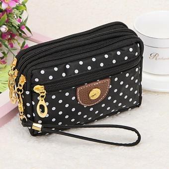 Perempuan 4 Moonar Fashion Ritsleting Kecil Cute Polka Pola Kain Kain Dompet Koin Uang Kunci Handbag