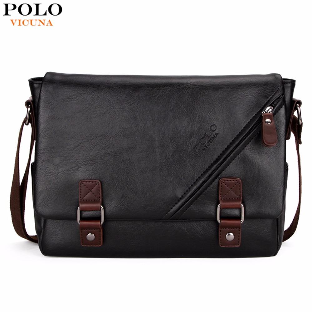 VICUNA POLO Promotional Men Messenger Bag Vintage Large Horizontal Black Satchel Bag With Double Belt Fashion Mens Handbag Hot