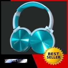 ... Headset Bluetooth RX-650 Bass Power Full - Biru Muda