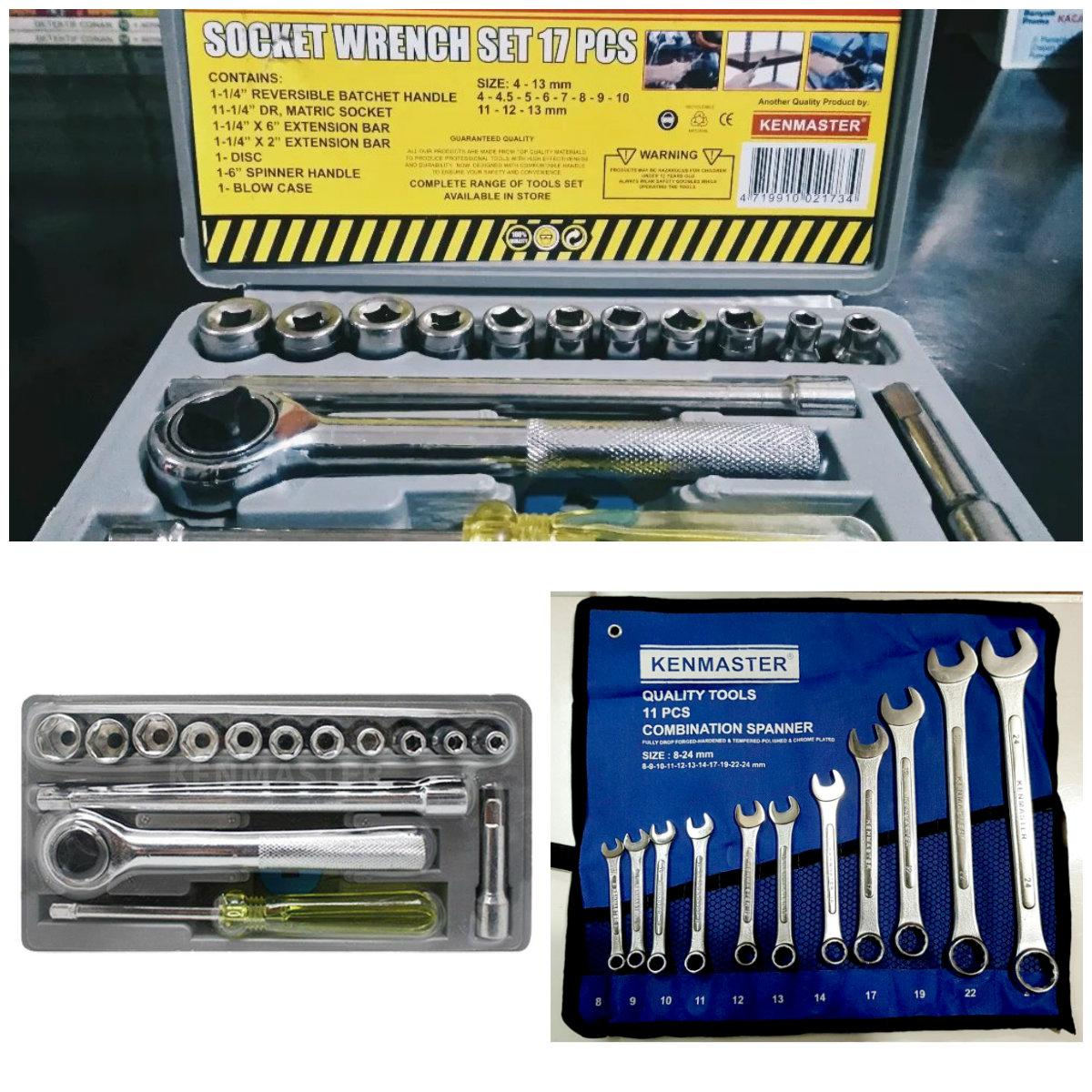 Kenmaster Kunci Sok 17 Pcs Sock Set Socket Wrench 1 Paket Ring Pas 11