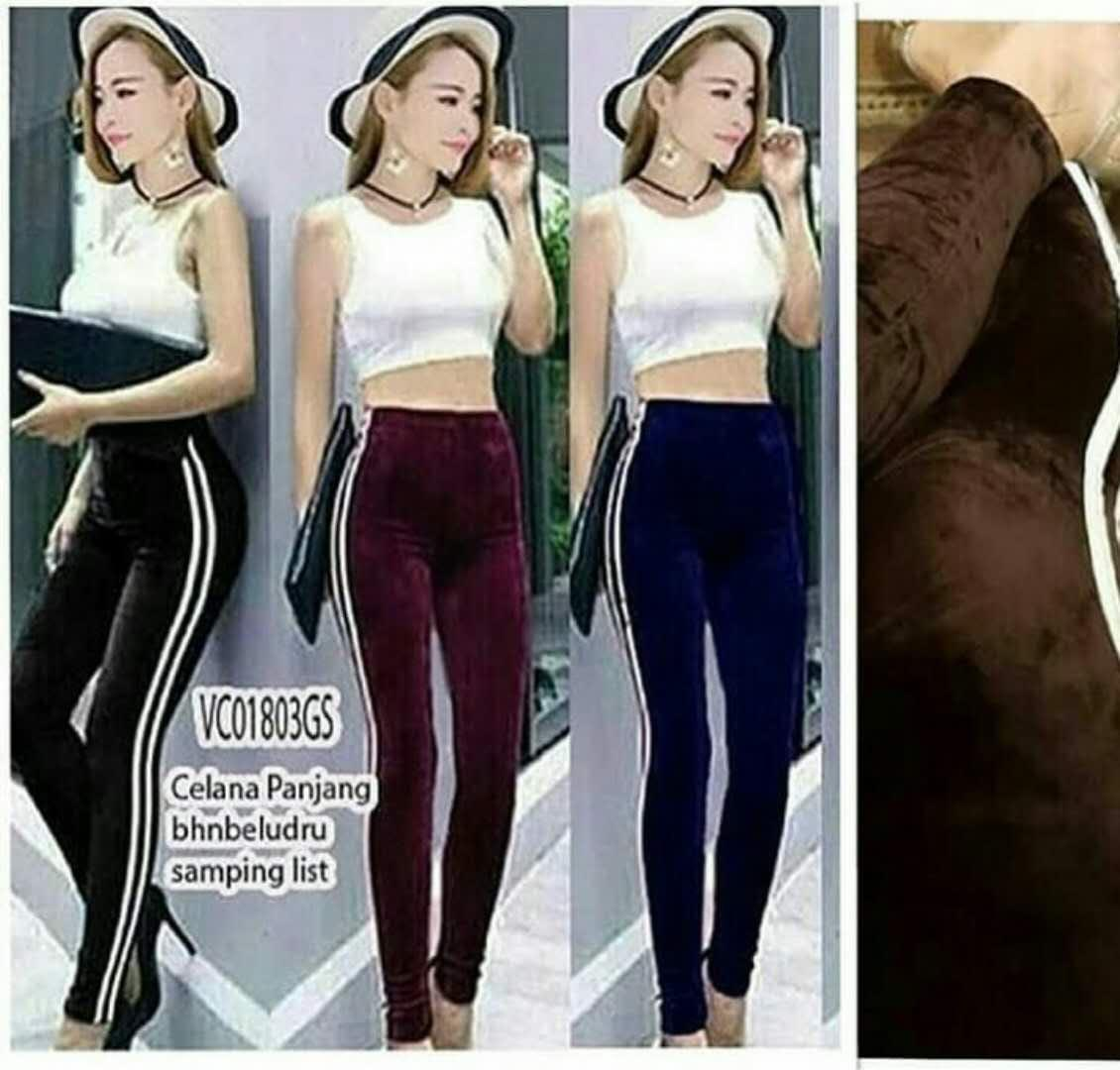 Adb Legging Wanita Bludru List Samping Lazada Indonesia