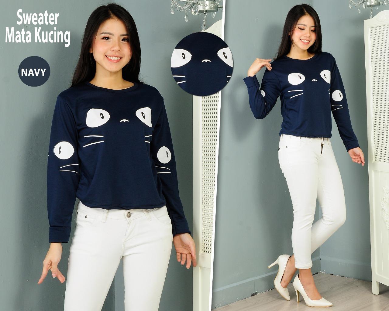 Topmodel99 Sweater Crop Wanita/ Atasan Wanita/Mata Kucing/Navy