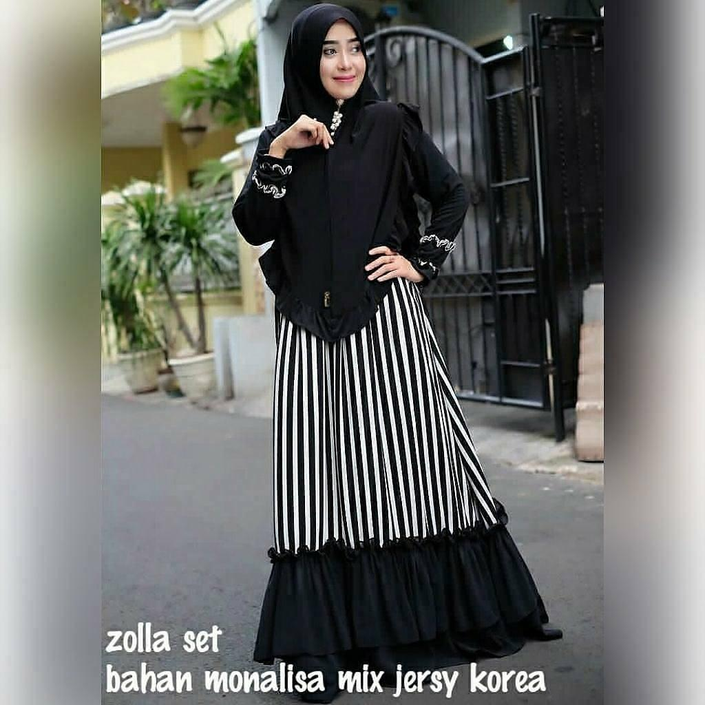 """ZOLA SET 2IN1 IKN"" Maxi Dress Syari Gamis Bahan Balotely Wolfice Katun Rubiah Spandek. """