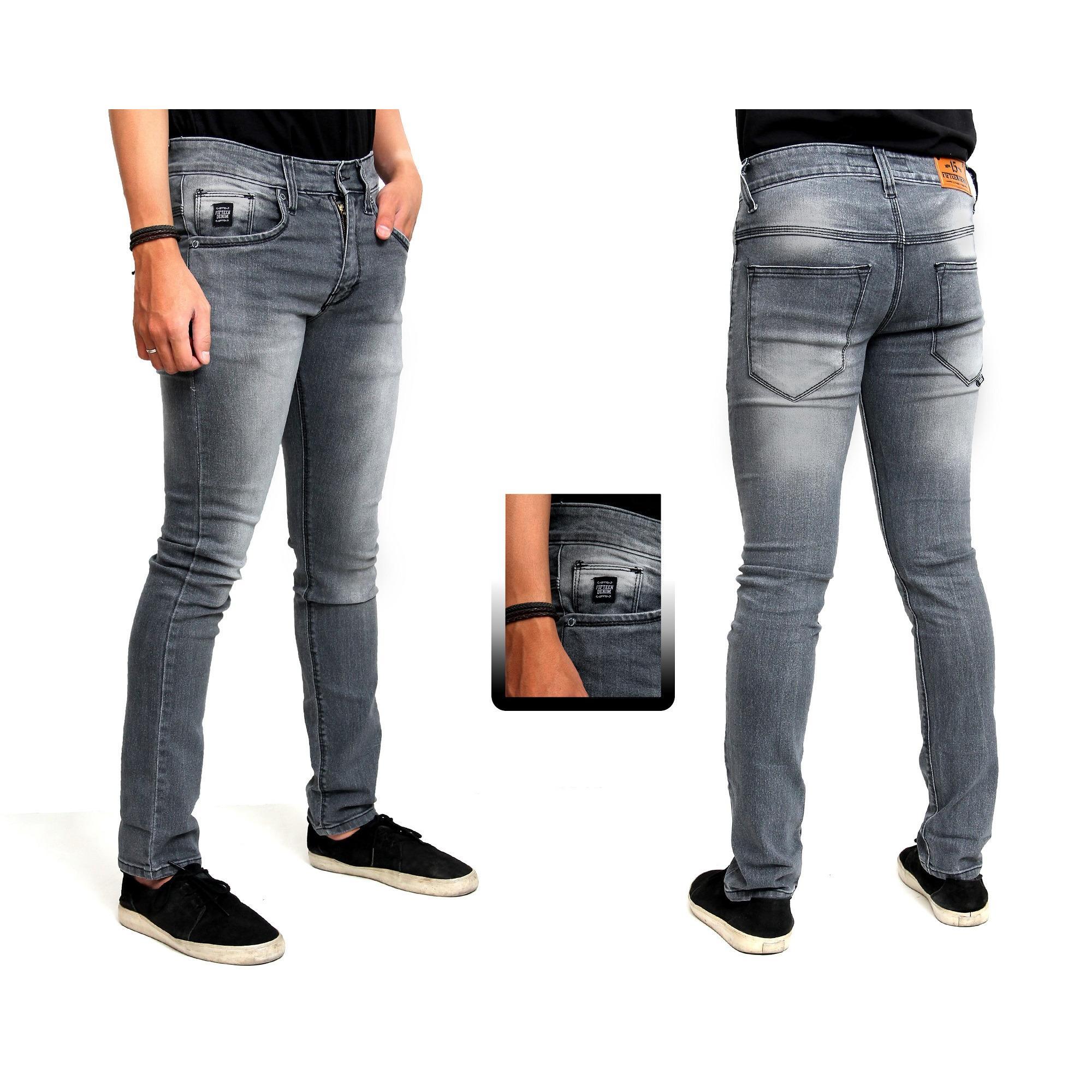 R.S.T.R. celana jeans skiny pria - celana jeans pensil - Celana jeans jumbo  XXL XXXL - black scrup - Hitam - Biru dongker - Biru muda - Biru tua  eff470a697