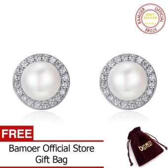 Bamoer Gratis Shpping 925 Perak Asli Klasik Bulat Berkilau CZ Segar Mutiara Air Anting-anting